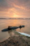 与日出的漂流木头 免版税图库摄影