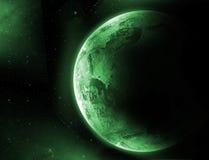 与日出的行星在空间 库存图片