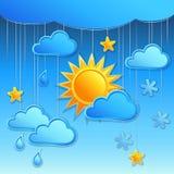 与日天气图标的向量背景 免版税图库摄影