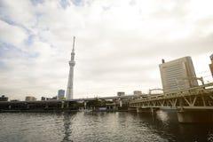与日本地平线的东京Skytree塔在sumida河 免版税库存图片