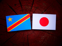 与日本旗子的刚果民主共和国旗子在被隔绝的树桩 库存图片