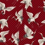 与日本白色起重机的无缝的样式用您的设计刺绣的不同的姿势,纺织品,打印 库存例证