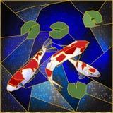 与日本鱼的彩色玻璃窗 免版税库存图片
