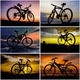 与日落天空拼贴画的自行车剪影 免版税库存照片