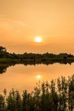 与日落时间的风景视图 免版税库存照片