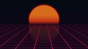 与日落20世纪80年代样式的减速火箭的未来派风景,与栅格表面, 3D的数字式夏天风景翻译 库存例证