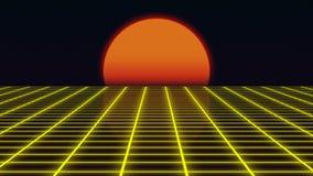 与日落20世纪80年代样式的减速火箭的未来派风景,与栅格表面, 3D的数字式夏天风景翻译 向量例证
