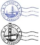 与旧金山和G都市风景的破旧的邮票  免版税图库摄影