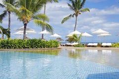 与早晨星期日的美丽的游泳池。 免版税库存照片