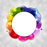 与旭日形首饰的五颜六色的演讲泡影 库存图片