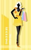 与时尚女孩和购物袋的背景 免版税图库摄影