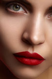 与时尚构成的美好的模型 有魅力嘴唇光泽构成和明亮的眼影的特写镜头画象性感的妇女 库存照片