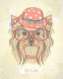 与时尚约克夏狗女孩的逗人喜爱的手拉的卡片 库存照片