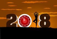 与时钟女孩锻炼瑜伽的新年好2018年 免版税库存图片