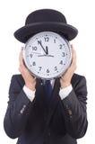与时钟的商人 免版税库存照片