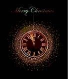 与时钟的圣诞节背景 免版税库存照片