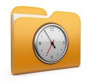 与时钟的文件夹。 3D查出的图标 免版税库存图片