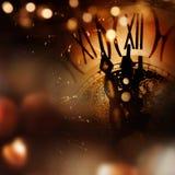与时钟的新年祝贺 库存照片