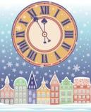 与时钟的新年和圣诞快乐冬天卡片 免版税库存照片
