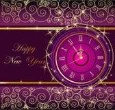 与时钟的新年快乐背景 免版税库存照片