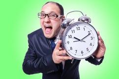 与时钟的生意人 库存图片