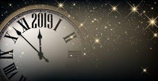 与时钟的金子发光的2019新年背景 2007个看板卡招呼的新年好 皇族释放例证