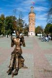 与时钟,文尼察,乌克兰的老了望塔 免版税库存照片