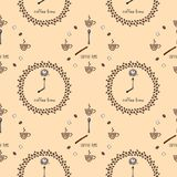 与时钟`咖啡时间`杯子和五谷的无缝的样式 皇族释放例证