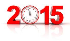 与时钟滴答作响的2015新年好 库存照片