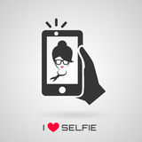 与时髦妇女的Selfie象 上色火焰集合符号向量 库存照片