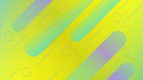 与时髦形状的黄色&绿色抽象背景,最小的背景 向量例证