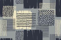 与时髦手拉的纹理的抽象几何无缝的样式 库存照片