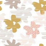 与时髦手拉的纹理的抽象花卉无缝的样式