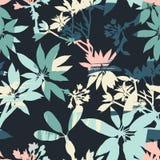 与时髦手拉的纹理的抽象花卉无缝的样式 免版税图库摄影