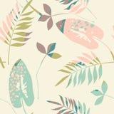 与时髦手拉的纹理的抽象花卉无缝的样式 库存照片