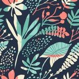 与时髦手拉的纹理的抽象花卉无缝的样式 库存图片