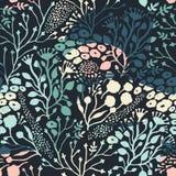 与时髦手拉的纹理的抽象花卉无缝的样式 免版税库存照片
