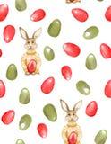 与时髦的兔宝宝行家和鸡蛋的无缝的复活节样式 库存图片