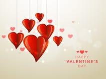 与时髦的心脏的愉快的情人节庆祝 免版税库存图片