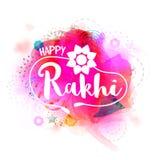 与时髦的文本的贺卡愉快的Rakhi的 免版税库存照片