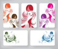 与时髦的横幅美丽的长的头发妇女,卡片设计模板 免版税库存照片