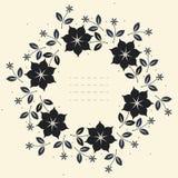 与时髦的花、叶子和星的圆的花卉框架 免版税图库摄影