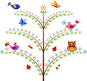 与昆虫、鸟和猫头鹰例证的绿色花树 免版税库存图片