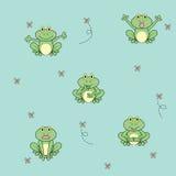 与昆虫无缝的样式的动画片青蛙 免版税库存照片