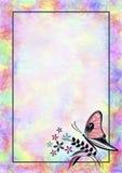 与昆虫的手拉的织地不很细花卉背景 与蝴蝶的五颜六色的葡萄酒卡片 图库摄影