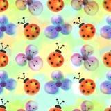 与昆虫的无缝的花卉样式 与手拉的花和瓢虫的水彩背景 免版税库存图片