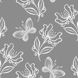 与昆虫(传染媒介)的无缝的花卉样式 免版税图库摄影