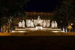 与明亮和美丽的illu的匈牙利议会大厦 库存图片