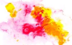 与明亮的五颜六色的油漆斑点的抽象绘画 免版税库存照片