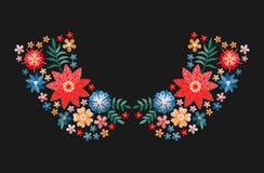 与明亮的五颜六色的花的刺绣样式领口的 时尚女衬衫和T恤杉衣领的花卉设计  向量 向量例证